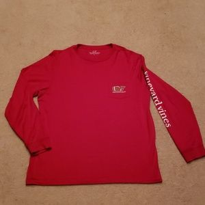 Vineyard Vines Football Whale Long Sleeve Pocket